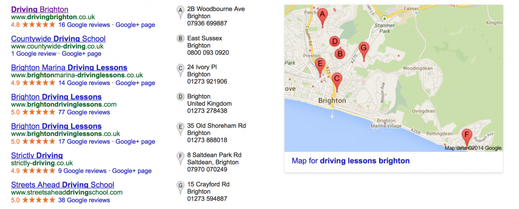 Google Local Screenshot